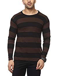 Cenizas Men's Full Sleeves Round Neck Striped Casual Tshirt/T-Shirt