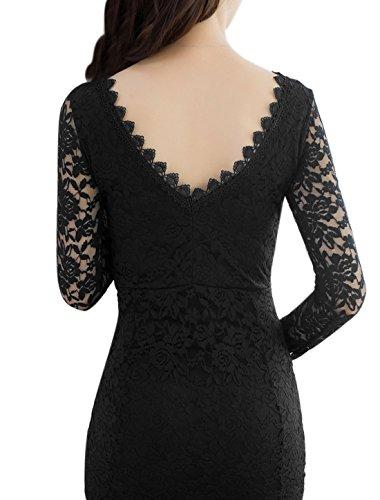 sourcingmap® Mesdames dos ouvert robe dentelle robe Corpscon garniture Black