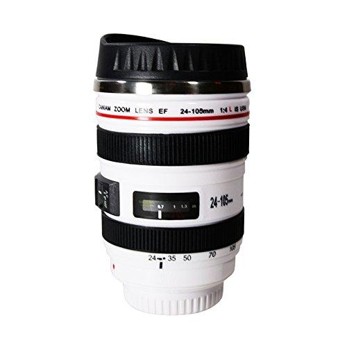 FotoTech Tasse à café/tasse/isotherme/Objectif tasse isotherme en acier inoxydable Gobelet + modélisation FotoTech Pochette Sac en velours (1 : 1 Objectif Canon EF 24–105 mm f/4L IS USM tasse 11 g, blanc)