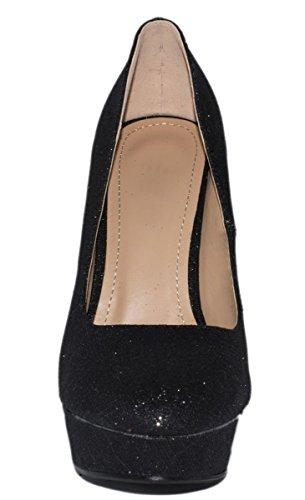 Elara Plateaupumps | Damen Glitzer Stiletto High Heels | Party Pumps Nero (nero)