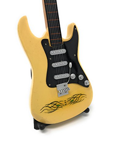 Guitarra en miniatura decorativa Guitarra Guitar Fender 24cm Crema Tiger Eye # 142