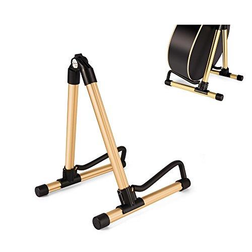 elecguru gurtar Ständer, Universal-Aluminium A-Frame klappbar Musik Instrument Ständer für Gitarre, Bass, Violine, Ukulele, Banjo, Mandoline gold