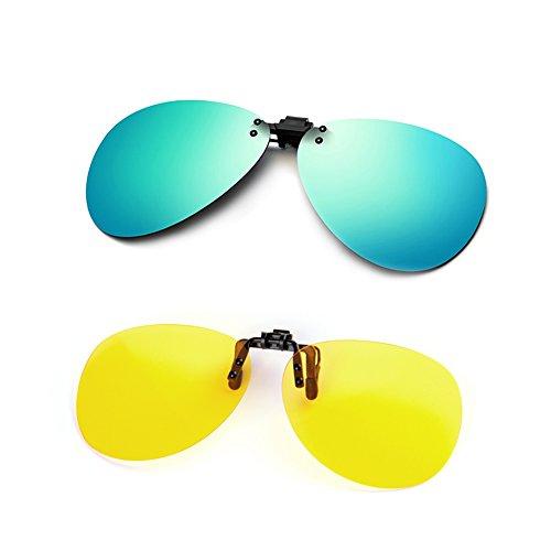 Cyxus des lentilles des lunettes aviateur se pince classique éclair sur les verres de prescription [anti - éblouissement] [la protection contre les rayons uv] conduire / pêche eyewear, hommes et femmes(2 pack)