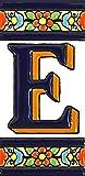 Letras y números con todo el abecedario, forma tus letreros en azulejo de cerámica policromada, pintados a mano en técnica cuerda seca. (Letra 'E')