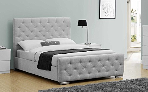 Luxury Upholstered Buckingham Bed Frame Crushed Velvet or Grey Fabric - Double or King Size By Sleep Design (King, Grey)