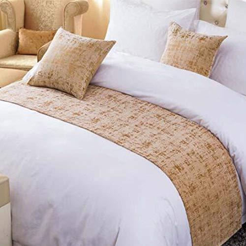 Osvino estivo corridore letto contemporaneo ciniglia puro colore semplice dolce decorazione per alberghi case, oro, 260x50cm pour 200cm lit