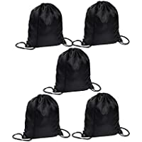 Aorowa - 5 Bolsas de Gimnasio con cordón, Plegables, para Deporte, Negro