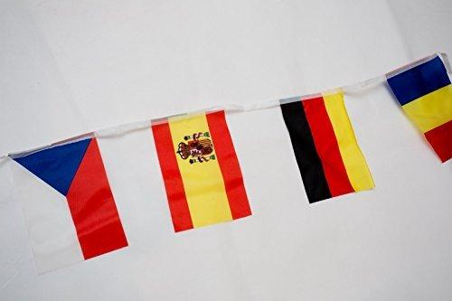 Landsell 7 Meter 24 L?nder Fahnen Wimpelkette Fahnenkette Flaggenkette Girlande EM Frankreich 2016