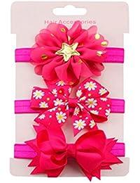 K-youth® 3 Pcs Diademas Bebé Arco del pelo de la venda elástico Bebé Cinta Para El Pelo Infantil Algodón Sólido Mariposa Niñas Banda Para La Cabeza Diadema (Rhodo)