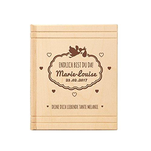 Spardose Buch aus Holz - mit Gravur zur Geburt – Personalisiert mit Namen und Datum – Sparbüchse aus Birkenholz als Baby Geschenk – Sparschwein für Jungen und Mädchen