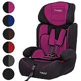 FROGGY Autokindersitz Gruppe I/II/III (9-36 kg) + Sicherheitsnorm ECE R44/04 + 5-Punkte-Sicherheitsgurt + verstellbare Kopfstütze Pink