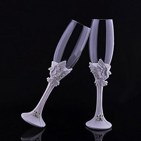 Élégant Résine Champagne Mariage Verre à vin avec Bird Décoration Décoration fête même Fournitures