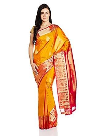 IndusDiva Pure Dharmavaram Silk Handloom Saree (BLR1370838_Mustard_one size)