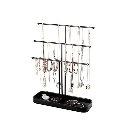 Jackcubedesign espositore per gioielli in metallo su 3 livelli espositore per alberi bracciale collana per supporto appendiabiti a torre con anello per anello contenitore per ripiano (nero, 30,7 x 10,4 x 40,8 cm) -: mk320d