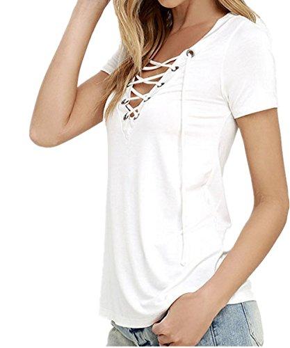 SHUNLIU Damen-T-Shirt/Oberteil mit lässiger Schnürung am V-Ausschnitt Weiß