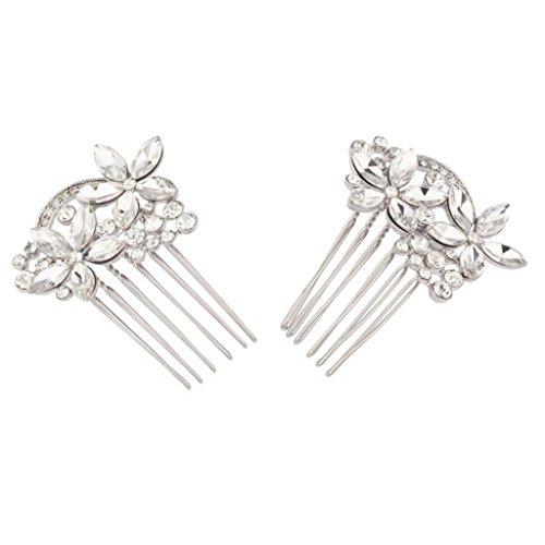 LUX accesorios diseño de flores y cristal flor novia peine conjunto