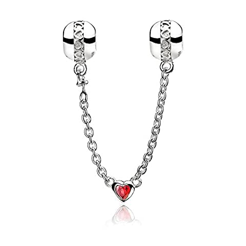 ATHENAIE 925 Sterling Silver Love Heart Connection Clair CZ Sécurité Chaîne Fit European Bracelets Couleur Rouge