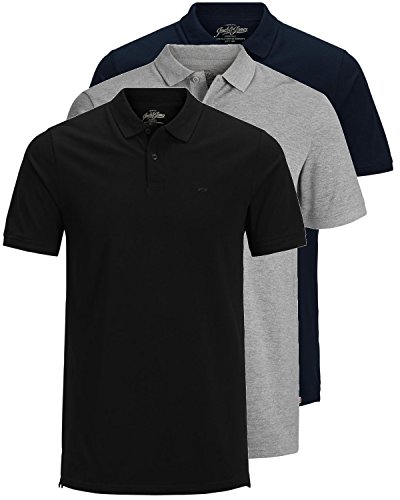JACK & JONES 3er Pack Herren Poloshirt Slim Fit Kurzarm schwarz weiß blau grau XS S M L XL XXL Einfarbig Gratis Wäschenetz von B46 (3er Pack Mix4, L)