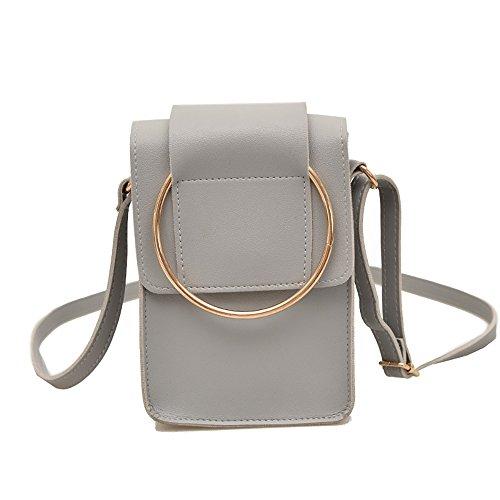 2018 neue Damen koreanischen Stil Ring Eimer Tasche Ring Mini Tasche Handy Geldbörsen für Frauen Crossbody Mini Bag weibliche Tasche (Pink) Grau