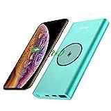 BONAI Wireless Charger Powerbank, 13800mAh Externer Akku 2 in 1 Kabellose Power Bank Tragbares Ladegerät für iPhone 8 8 Plus X, Samsung Galaxy S9 S9 + S8 / S8 + / S7 / S7 + und Mehr (Minze)