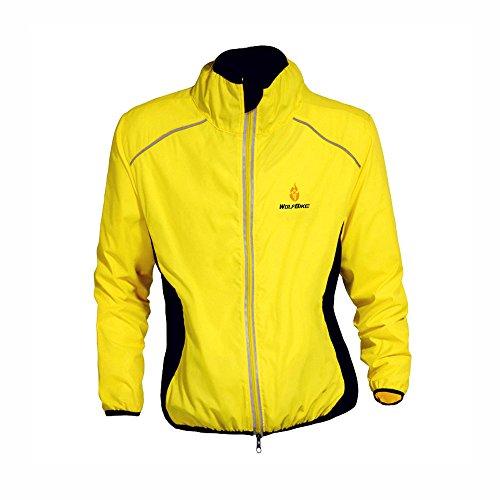 WOLFBIKE bicicletta Jersey Uomo Equitazione traspirante Ciclo Giacca Abbigliamento bici a maniche lunghe Vento Cappotto giallo