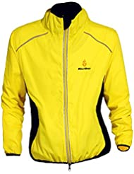 WOLFBIKE Ciclismo Equitación Jersey chaqueta transpirable ciclo Ropa bicicleta manga larga perchero de pared de viento, color Amarillo - amarillo, tamaño large