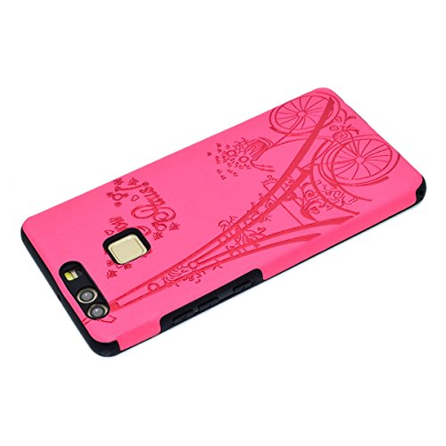 inShang Hülle für Huawei P9 ,Ascend P9 case Ultra Schlank und leicht TPU Bequem Schutzhülle Rückcover (Back Case) design für Handy Huawei P9, Rose tower