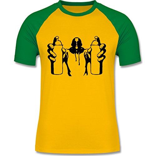 Hip Hop - Graffiti Sprayer - zweifarbiges Baseballshirt für Männer Gelb/Grün
