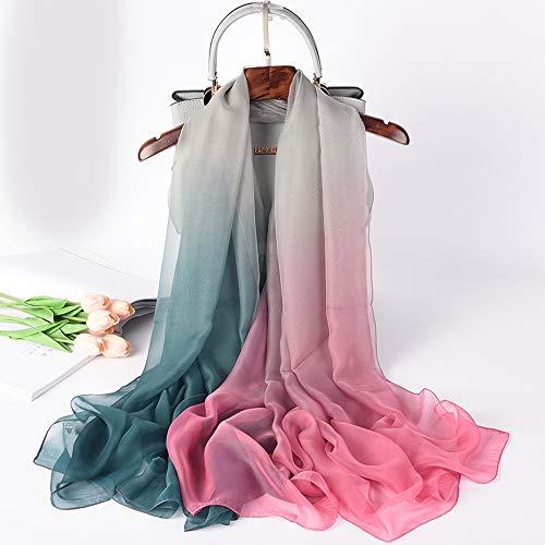 YanyanNKC Schal Tuch Damen Aus Chiffon Für Damen Schal Modische leichte und verblasste grüne Asche -
