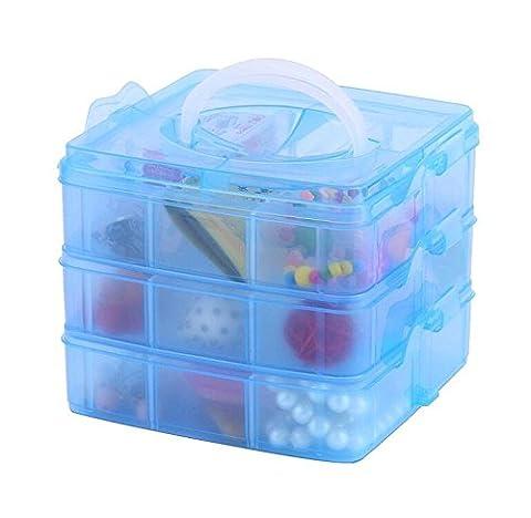 DJUNXYAN 3-stöckige 18 Fächer Aufbewahrungsbox für Spielzeug, Schreibwaren, Schmuck und andere Kleinteile, 3-stöckig, stapelbar, transparent, verstellbare Fächer, Kunststoff, in 4 pastelligen Farben und 3Größen erhältlich, (Blau,Mittel)
