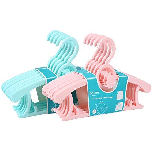 Bamny mitwachsende Kinderkleiderbügel platzsparend mit stapelbaren Bärchen-Haken rutschfeste Kleiderbügel für Babys und Kleinkinder (10er Set) -