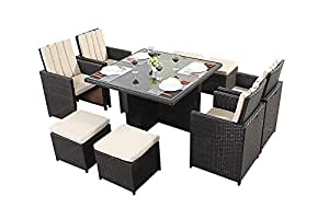 Port Royal Luxe 4 Seater Cube Set, Brown with Footstools