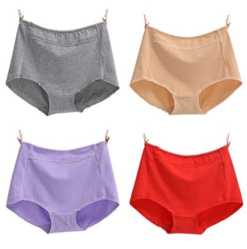 YVWTUC Ladies 4-Pack Briefs Novelty Sexy Cotton Underwear Mid-Waisted