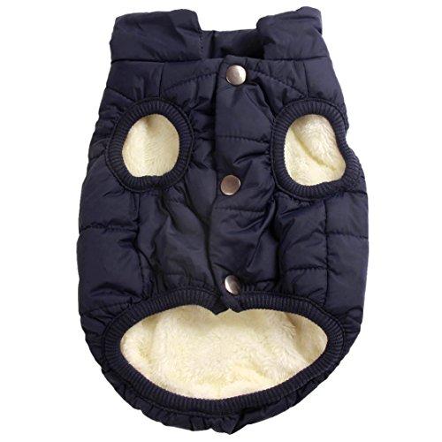 Mit Fleece gefütterte Hundejacke mit 2 Schichten von JoyDaog, sehr warm für den Winter und kaltes Wetter, extraweiche, winddichte Hundeweste(M, blau)