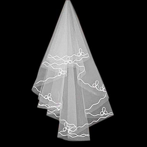 blanc élégante simple couche voile belle de mariage coude mariée, de 1,5 mètres