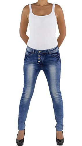 Damen Boyfriend Jeans Hose Röhrenjeans Baggy Chinohose Hüfthose Haremshose FA014