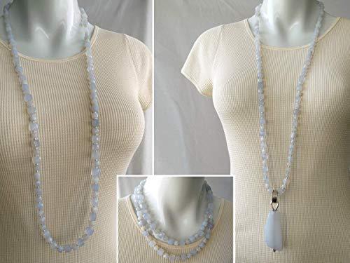 Sehr lange Halskette mit Anhänger - blaue Chalzedon - Sterling Silber - GemChristina CH9532