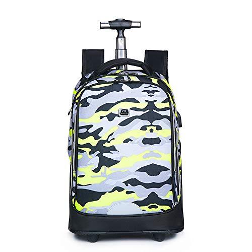 AUNLPB Laptop-Rucksack, Wheeled Rucksack große rollende wasserdichte Schule Laptop Buch Tasche Outdoor Daypack Reise tragen auf Gepäckkoffer,5 - Wheeled Laptop-tasche