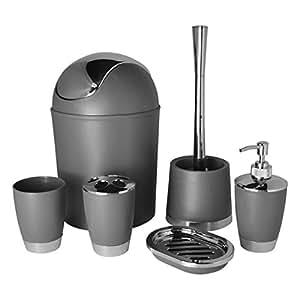 Bathlux modern design 6 piece bathroom accessory set for Bathroom bin and brush set