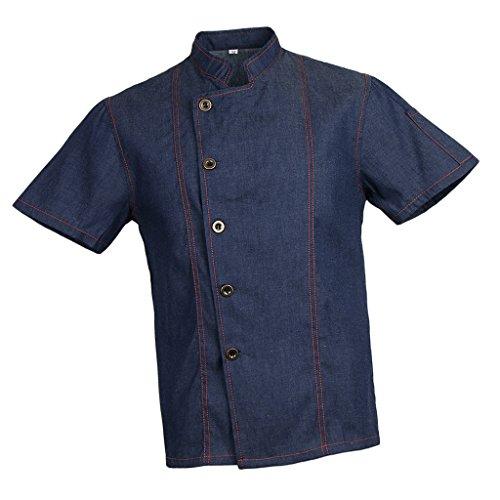 Homyl Männer Frauen Denim Kochjacke Knöpfe Bäckerjacke Gastronomiebekleidung Kochhemd Arbeitskleidung für Koch Köche - Blau, XL - 8