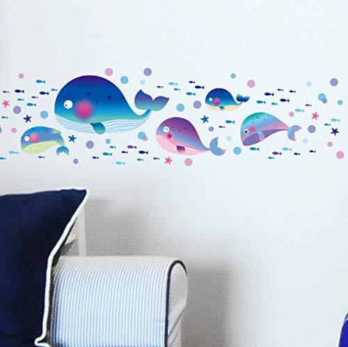 qwerdf Wandaufkleber Cartoon Wal Abnehmbare Wand Aufkleber Niedliche Wand Aufkleber Vinyl-Hintergrund Zu Hause Dekal Waterproof Sea Zeitung...
