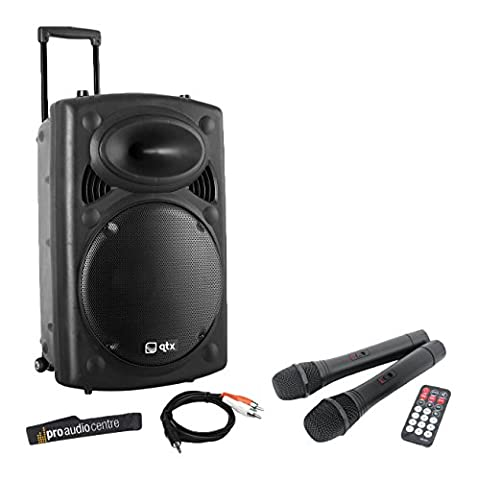 QTX QR12PA Portable PA System with Wireless Handheld Microphones, Battery Powered VHF Speaker and iPod Connection