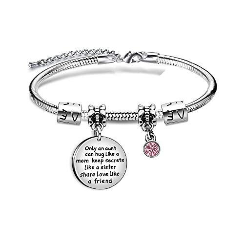 Imagen de pulsera de plata con colgante de cristal para tía, con texto en inglés
