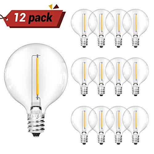 OxyLED G40 LED Ersatzbirnen für Garten String Lichter im Freien mit 12 klaren Glühbirnen Warmweiß -