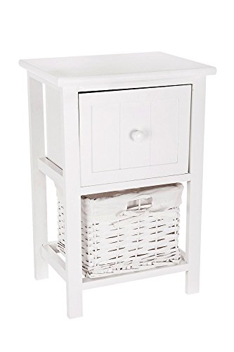LIVIVO ® White Shabby Chic Style Wooden Bedside Cabinet Table with Single Drawer and Wicker Storage Basket - No Assembly Required
