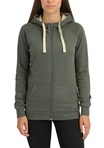 BLEND SHE Jana Damen Sweatjacke Kapuzen-Jacke Zip-Hood aus hochwertiger Baumwollmischung Ivy Green