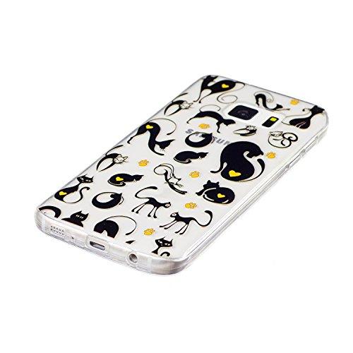 Galaxy S7 Coque, Samsung S7 Housse, Samsung Galaxy S7 Etui,BONROY® Motif monochrome classique Ultra-Mince Thin Soft Silicone Etui de Protection pour Souple Gel TPU Bumper Poussiere Resistance Anti-Scr black Cat