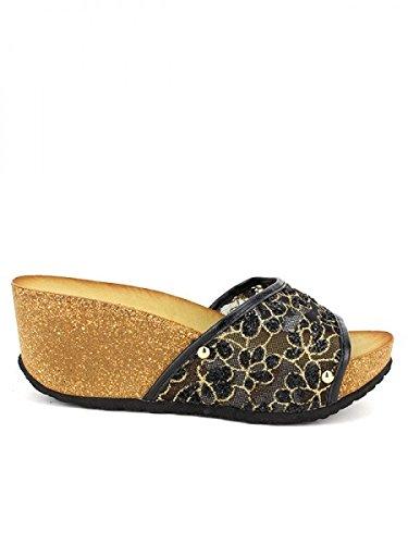 Cendriyon, Compensée Noire TANAKA Mode Chaussures Femme Noir