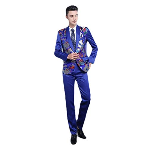 Mens White Tuxedo Shirt (CuteRose Mens Wrinkle Resistant Tuxedo Chinese Style Set Blazer Jacket Pants Blue S)