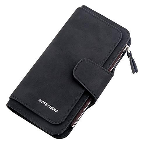 Damen Geldbörse Piebo Brieftasche Portemonnaie Lang Portmonee Elegant Clutch Große Kapazität Handtasche Geldbeutel PU Leder Geldtasche mit Reißverschluss für Frauen (Schwarz)